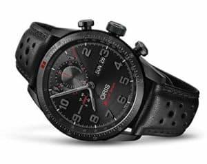 Oris Audi Sport Black Dial Leather Strap Men's Watch