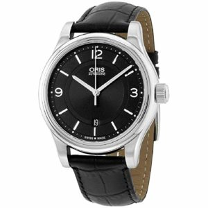 Oris Classic Black Dial Leather Strap Mens Watch